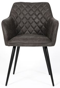 Charlie Carver Dining Chair (Pair) - Grey Faux Leather