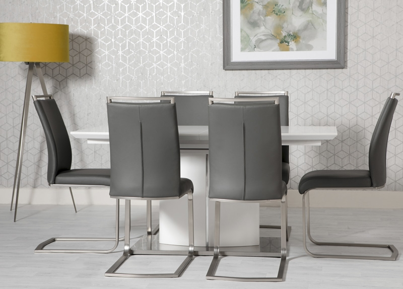 Prado Extending Dining Table and 6 Franklin Chairs - White and Grey