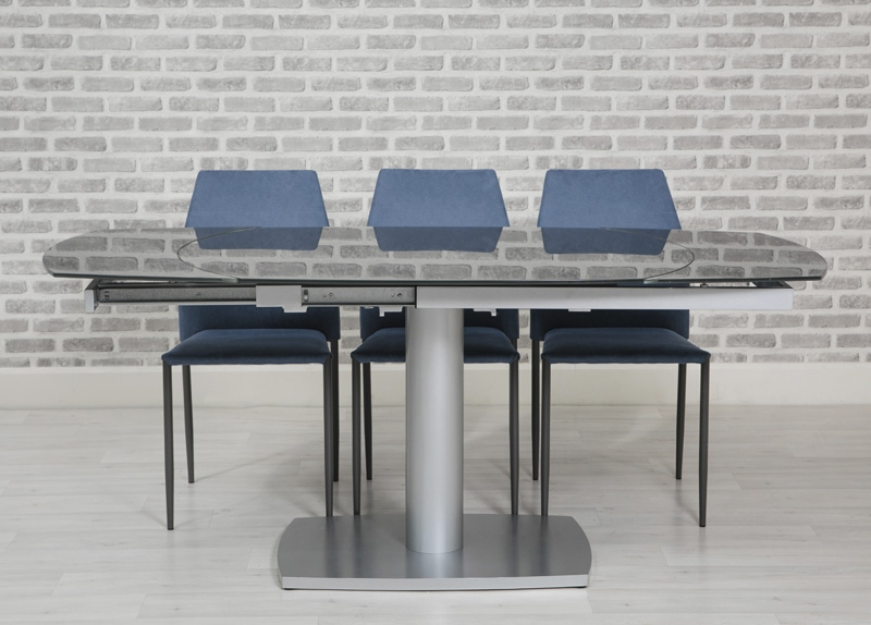 Eclipse Oval Extending Glass Dining Table and 4 Milo Chairs - Grey and Blue