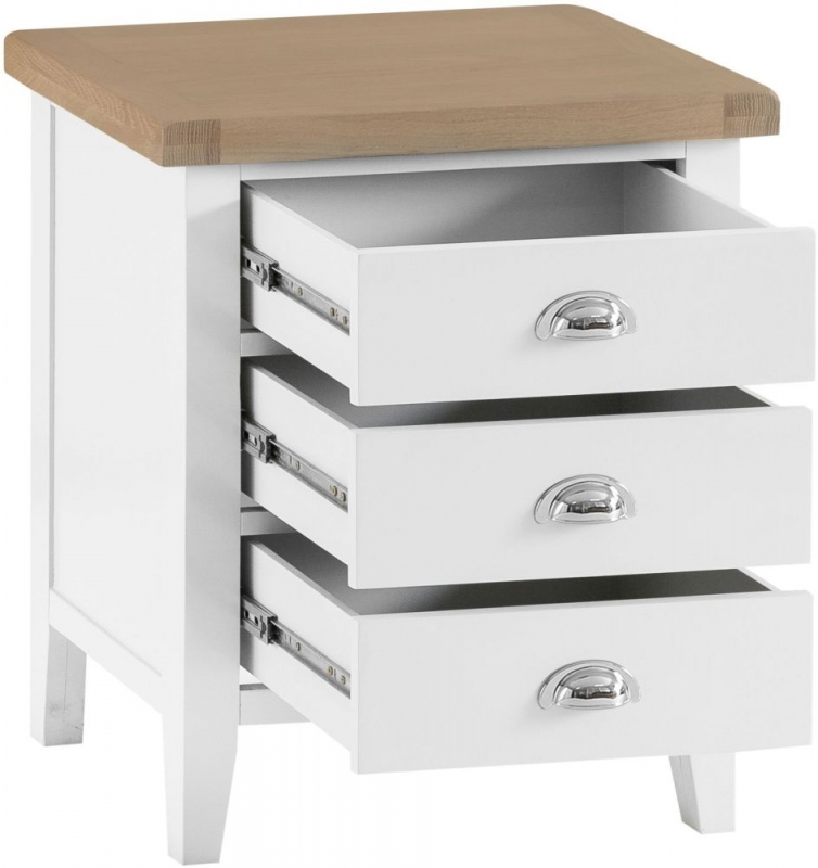 Hampstead Oak and White Painted 3 Drawer Large Bedside Cabinet