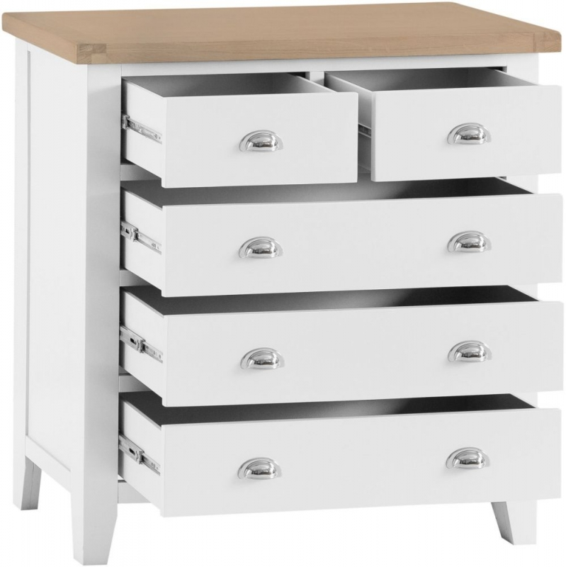 Hampstead 2+3 Drawer Chest - Oak and White Painted