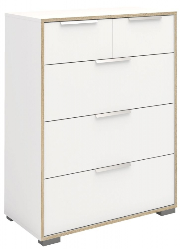 Line 5 Drawer Chest - Oak and White High Gloss