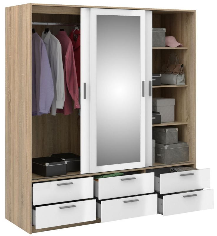 Line 3 Door Wardrobe - Oak and White High Gloss