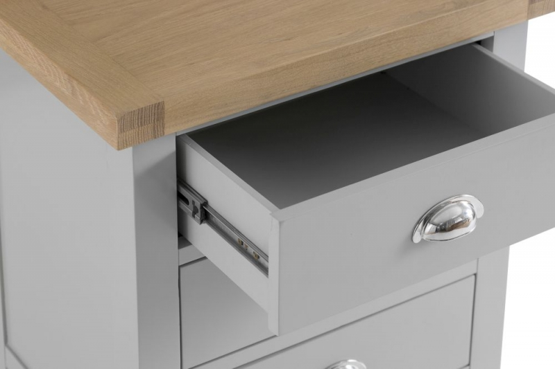 Hampstead Oak and Grey Painted 3 Drawer Large Bedside Cabinet