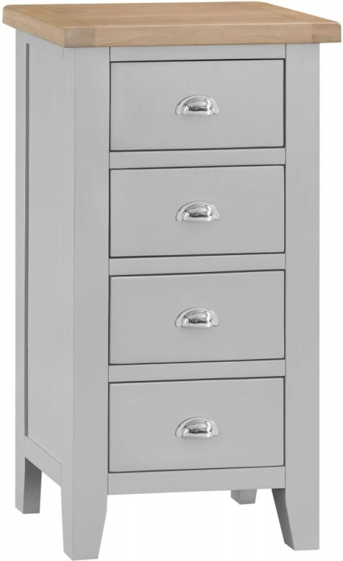Hampstead Oak and Grey Painted 4 Drawer Chest