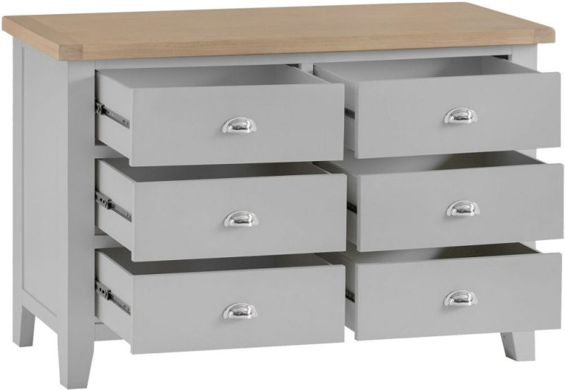 Hampstead Oak and Grey Painted 6 Drawer Chest