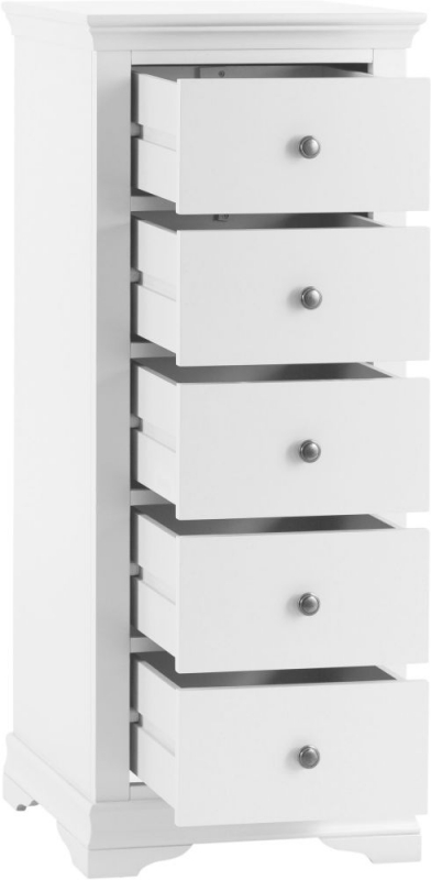Chantilly White Painted 5 Drawer Tall Chest