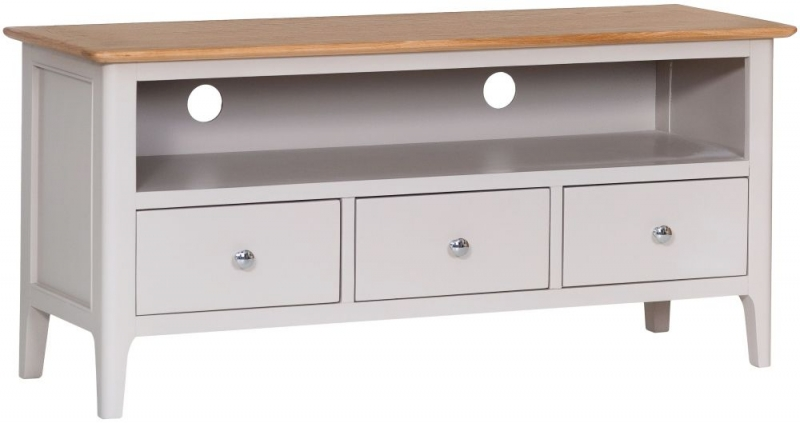 Shore Large TV Unit - Oak and Dove Grey Painted