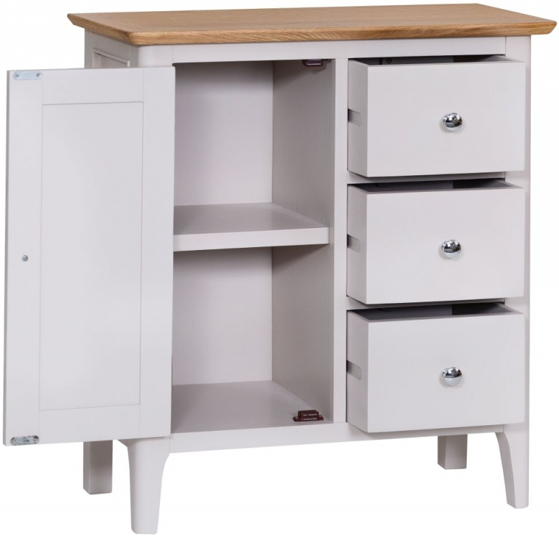 Shore Oak and Dove Grey Painted 1 Door 3 Drawer Cupboard