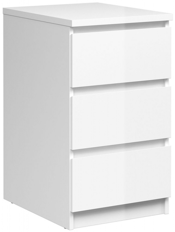 Naia White High Gloss 3 Drawer Bedside Cabinet