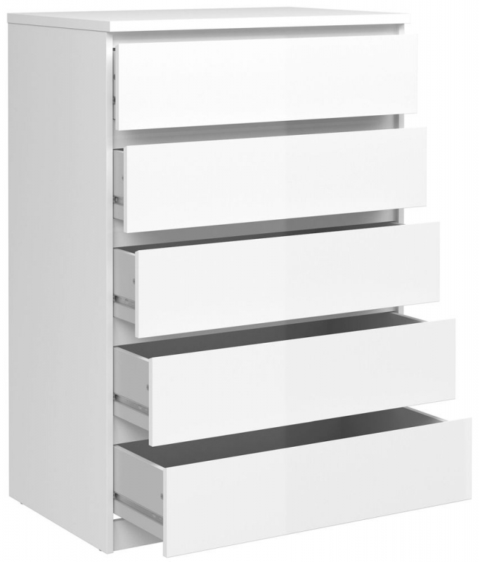 Naia White High Gloss 5 Drawer Chest