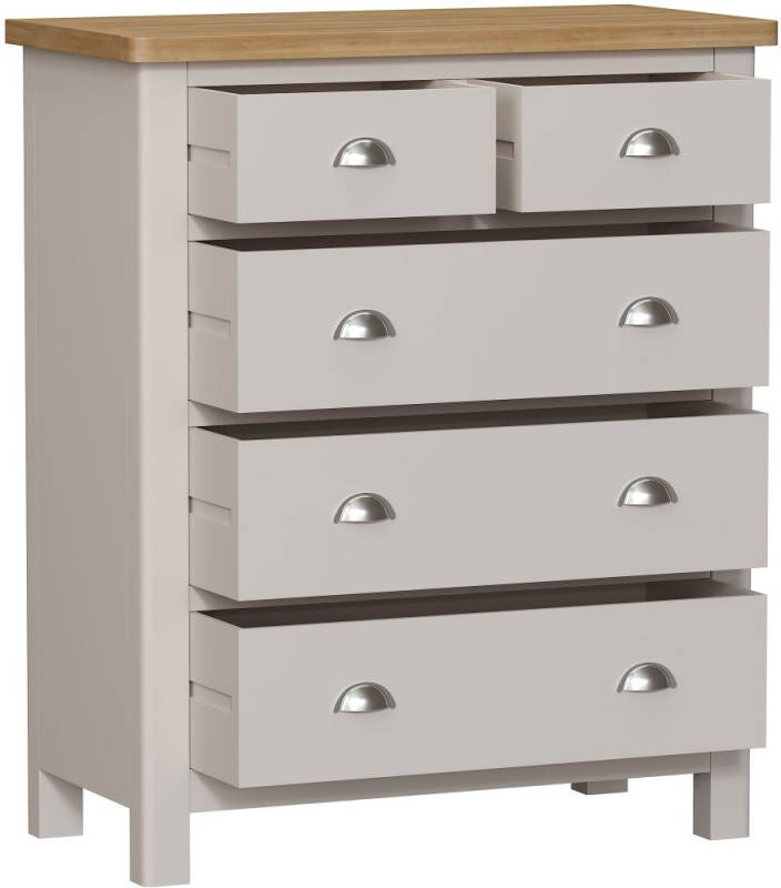 Portland 2+3 Drawer Chest - Oak and Dove Grey Painted