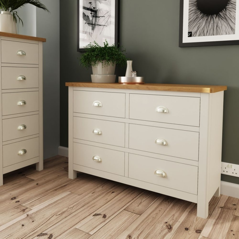 Portland Oak and Dove Grey Painted 6 Drawer Chest