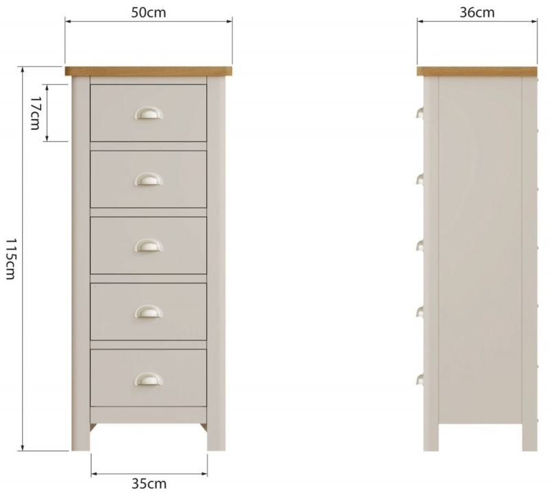 Portland Oak and Dove Grey Painted 5 Drawer Tall Chest