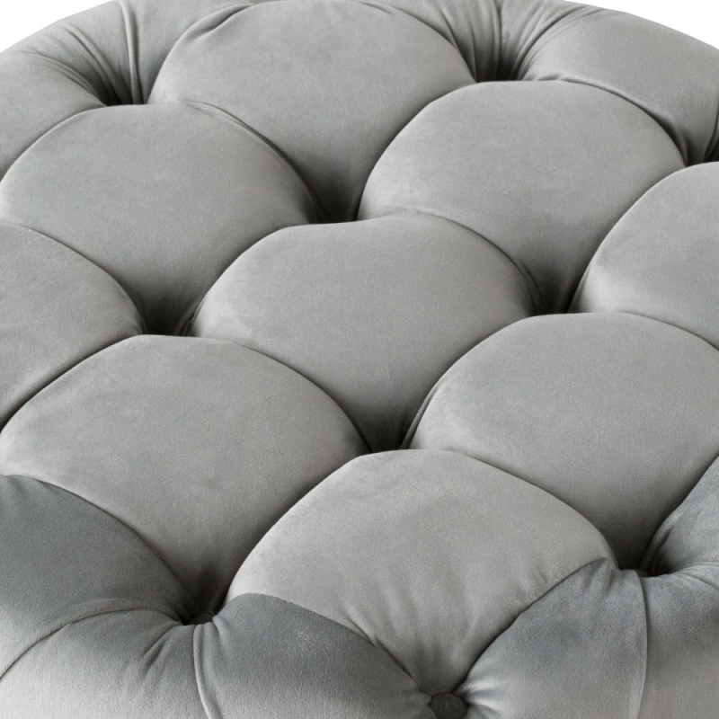 Hill Interiors Grey Velvet Small Round Tufted Footstool
