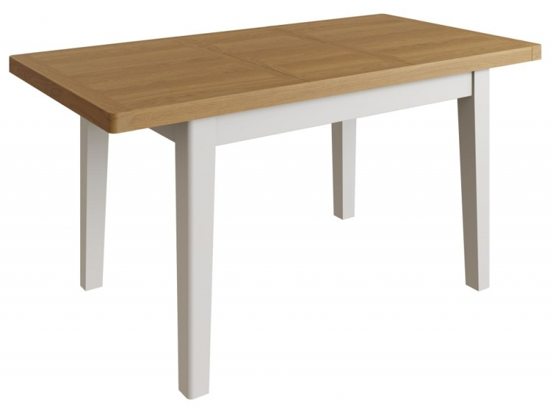 Portland Oak and Dove Grey Painted 120cm Extending Dining Table