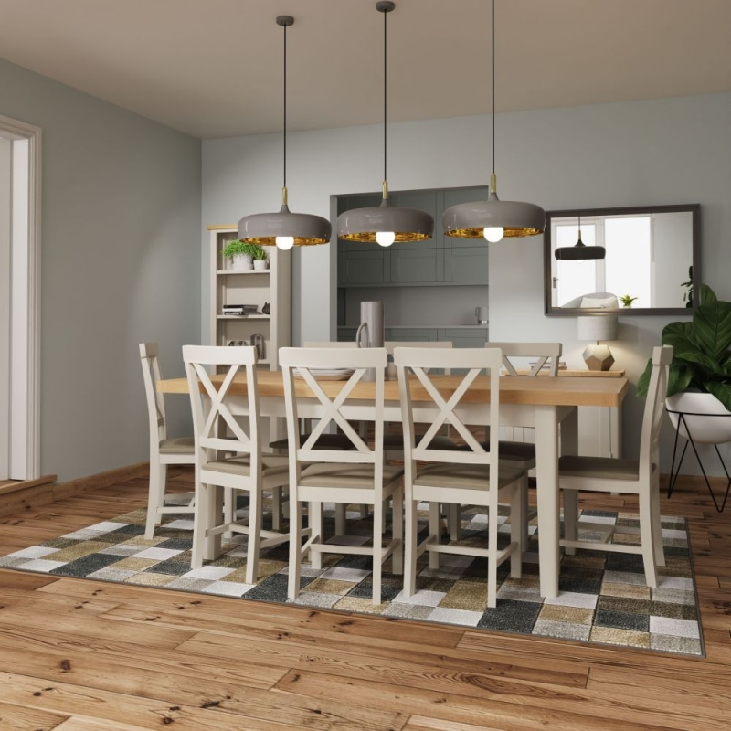 Portland Oak and Dove Grey Painted 160cm Extending Dining Table