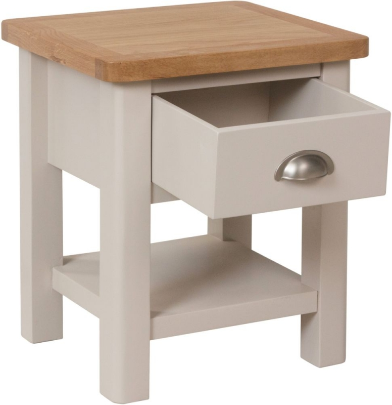 Portland Oak and Dove Grey Painted 1 Drawer Lamp Table