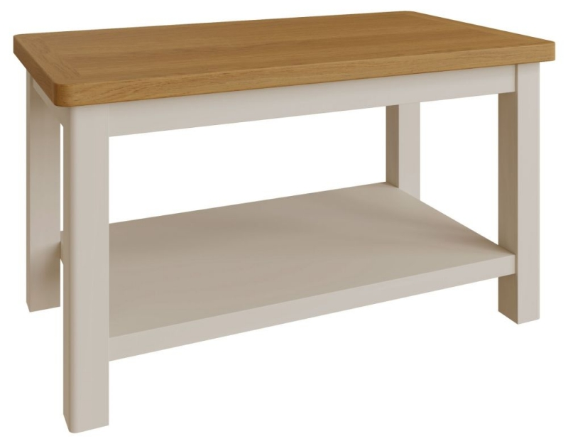 Portland Oak and Dove Grey Painted Coffee Table