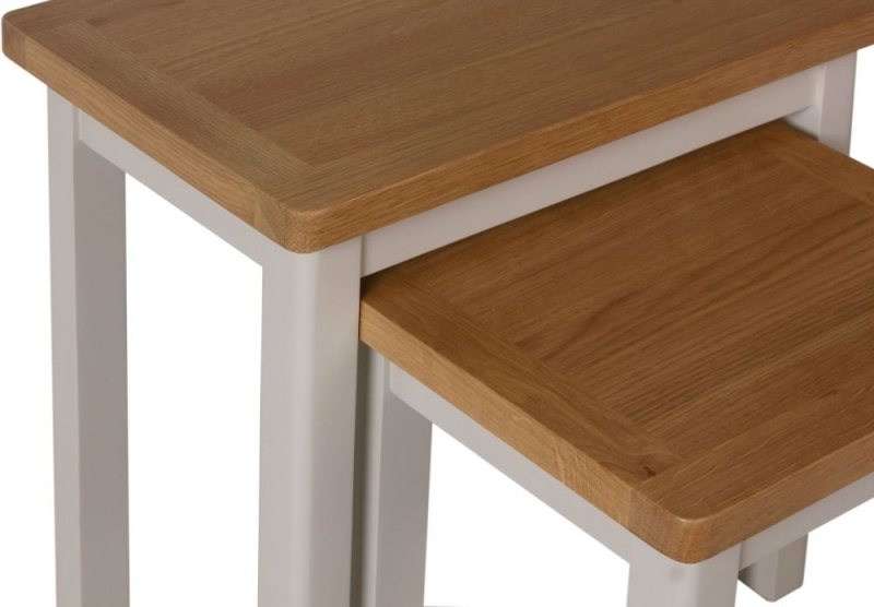 Portland Oak and Dove Grey Painted Nest of 2 Tables