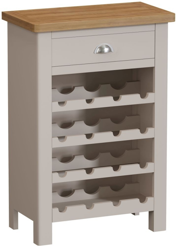 Portland Wine Cabinet - Oak and Dove Grey Painted