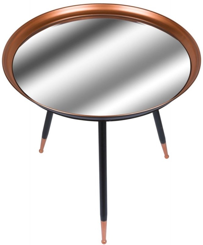 Hill Interiors Antique Copper and Mirrored Side Table