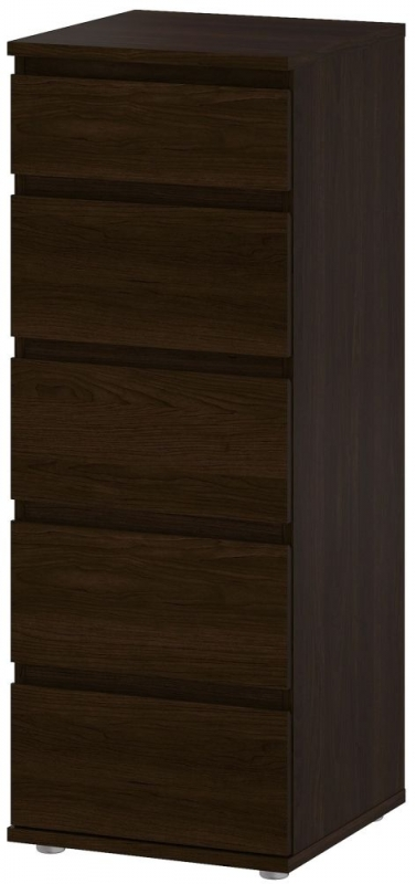 Nova 5 Drawer Narrow Chest - Dark Walnut