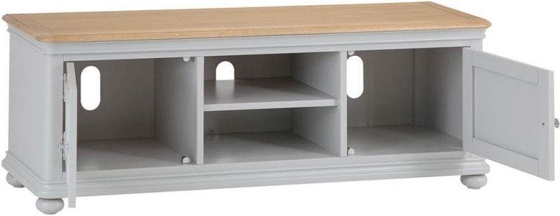 Annecy Oak and Soft Grey Painted 2 Door TV Unit