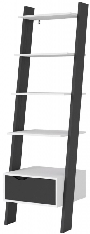 Oslo Leaning Bookcase - White and Black Matt