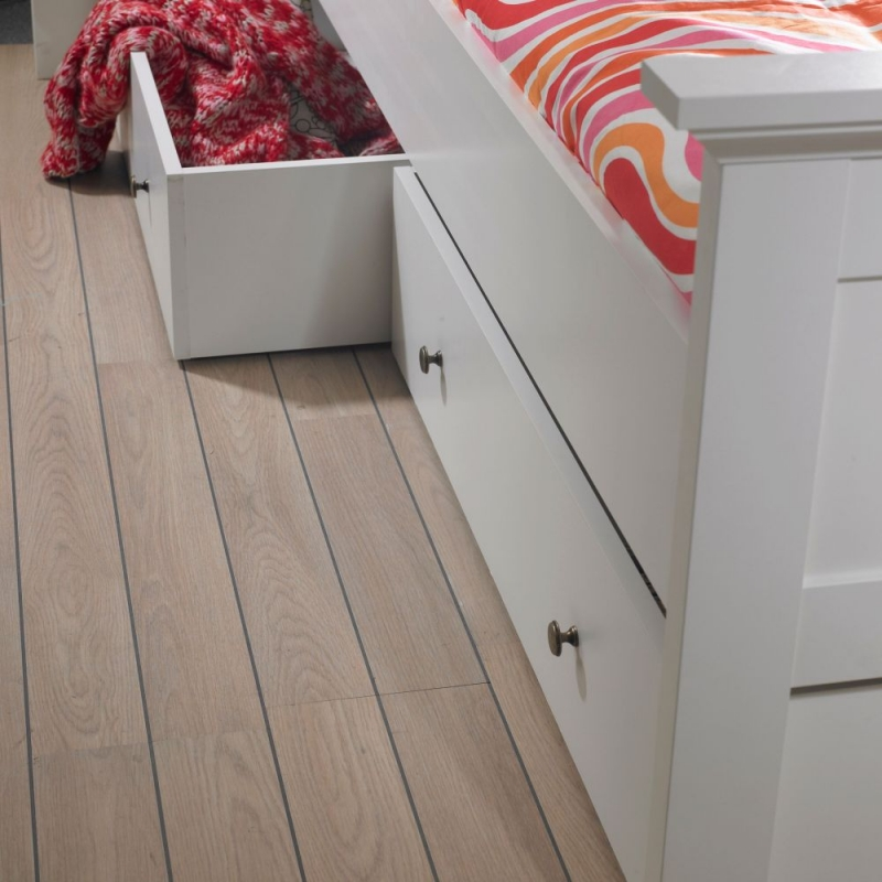 Paris White Underbed Storage Drawer for Single Bed