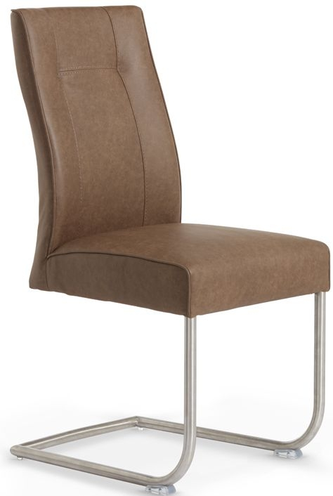 Serene Valencia Brown Faux Leather Dining Chair (Pair)