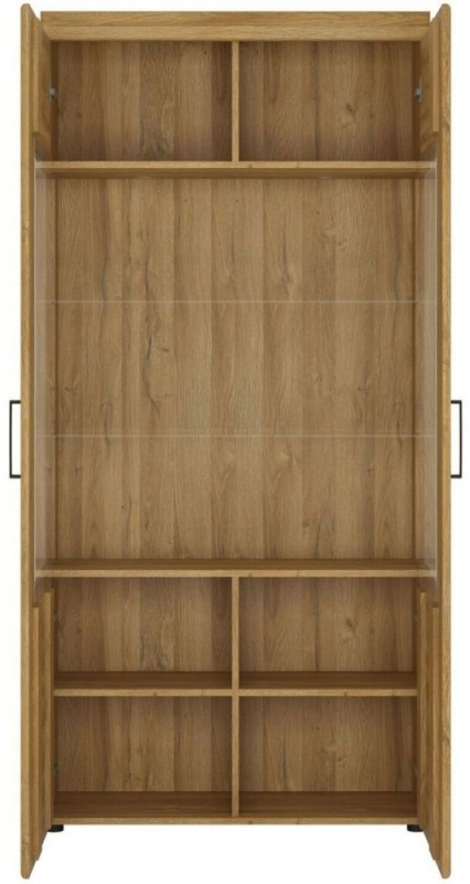 Cortina Grandson Oak Tall Wide Glazed Display Cabinet