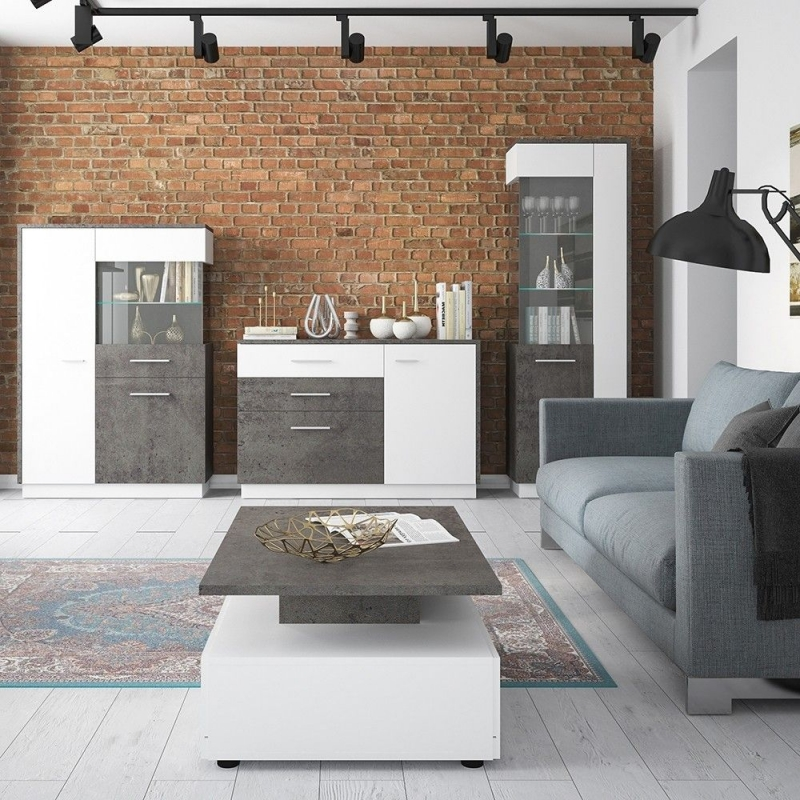 Zingaro Low Right Hand Facing Display Cabinet - Slate Grey and Alpine White