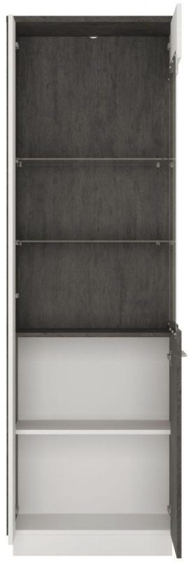 Zingaro Tall Right Hand Facing Glazed Display Cabinet - Slate Grey and Alpine White