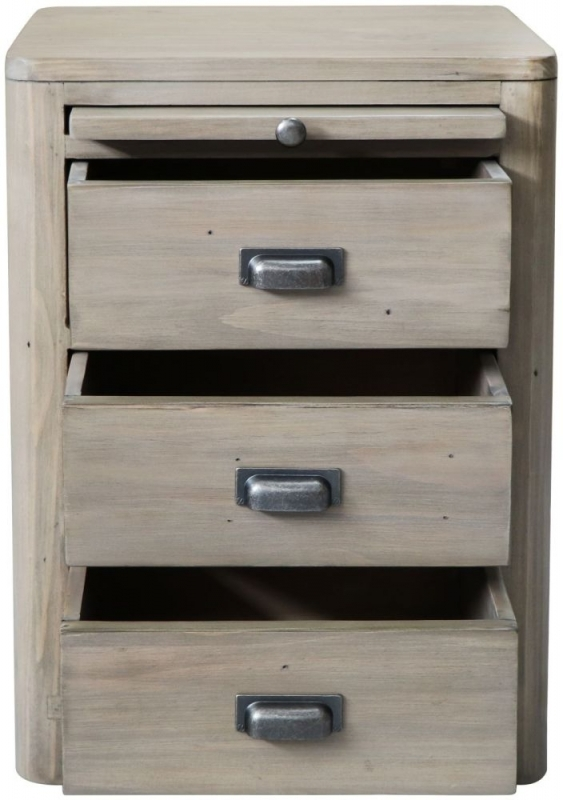 Clearance Half Price - Tempest Reclaimed Pine 3 Drawer Bedside Cabinet - New - T015