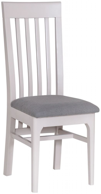Clearance Half Price - Shore Dove Grey Painted Slatted Back Dining Chair (Pair) - New - T012