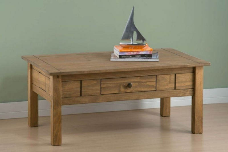 Clearance Half Price - Birlea Santiago Pine 1 Drawer Storage Coffee Table - New - T030