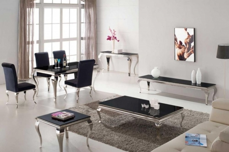 Clearance Half Price - Vida Living Louis Black Glass Top Large Coffee Table - New - T035