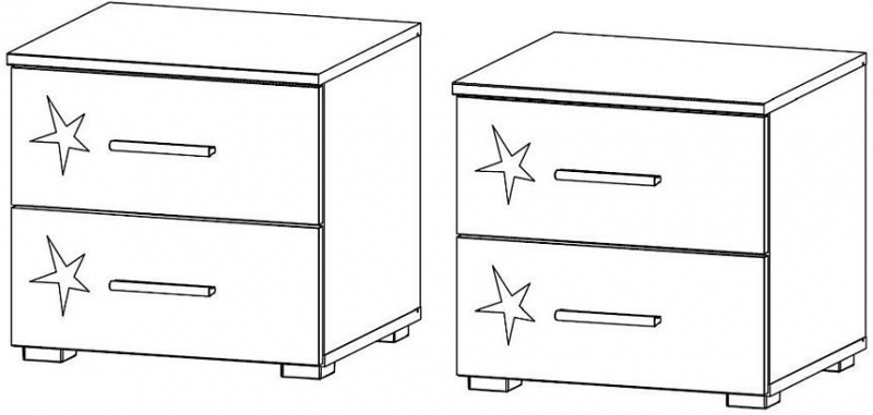 Rauch Celle 2 Drawer Bedside Cabinet in Alpine White and High Gloss White (Pair)
