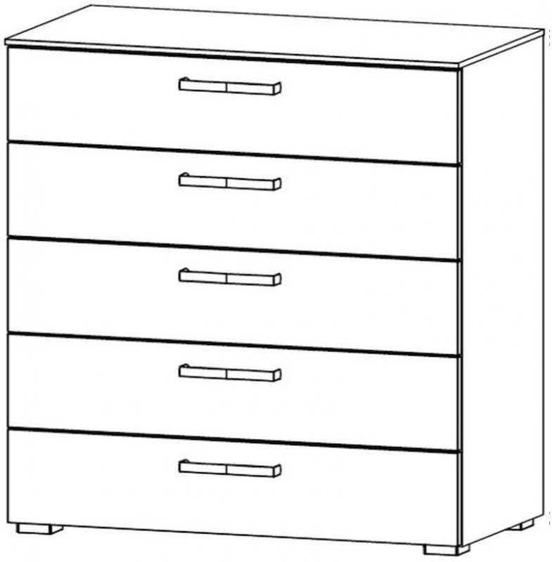 Rauch Mavi Extra 5 Drawer Chest in Black - W 80cm
