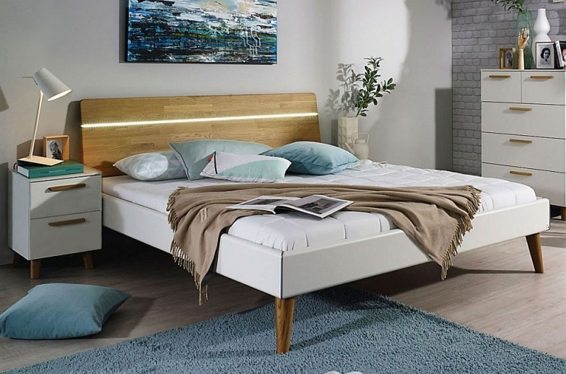 Rauch Mavi Extra 5ft King Size 2 Panel Bed in Alpine White and Jackson Hickory with Chrome Bar and LED Lighting - 160cm x 200cm