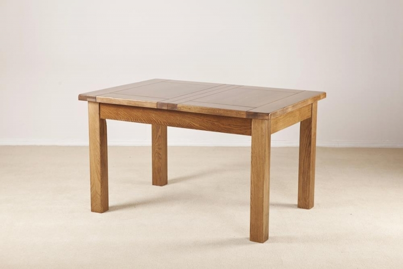 Clearance Half Price - Rustic Solid Oak Rectangular 2 Leaf Extending Dining Table - 132cm-198.4cm - New - T082