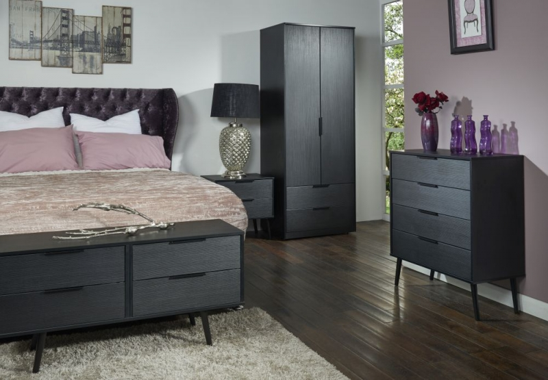 Hong Kong Black 2 Drawer Bedside Cabinet with Wooden Legs