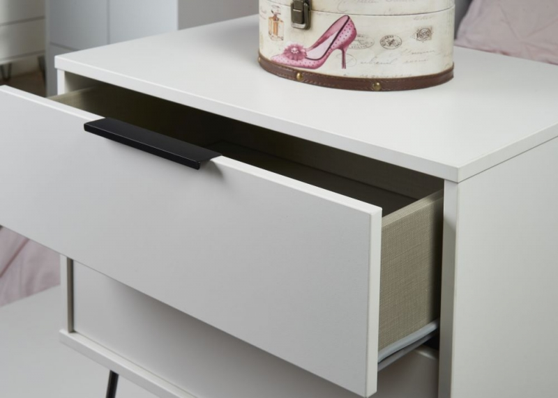 Hong Kong White 1 Drawer Bedside Cabinet with Hairpin Legs