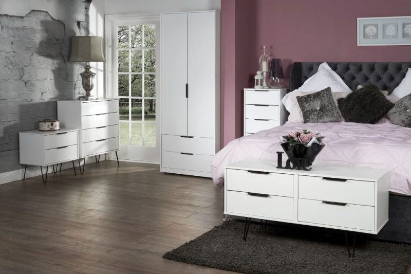 Hong Kong White Bed Box with Hairpin Legs