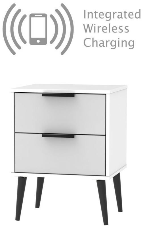 Hong Kong 2 Drawer Bedside Cabinet with Wooden Legs - Grey and White