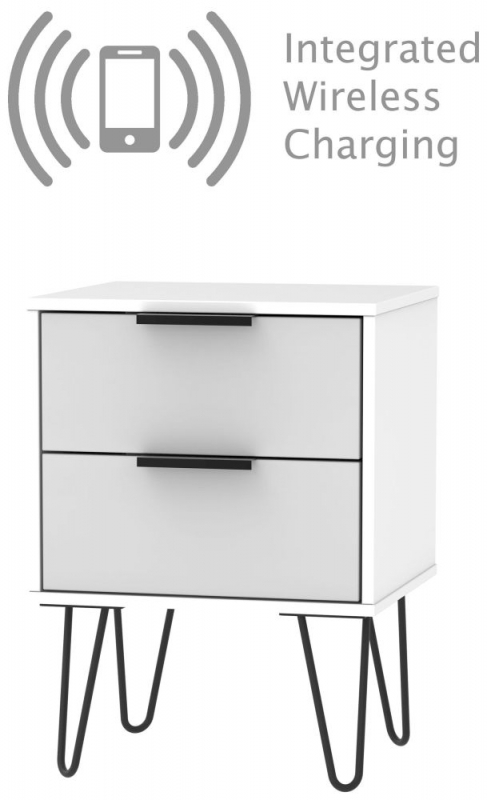Hong Kong 2 Drawer Bedside Cabinet with Hairpin Legs - Grey and White