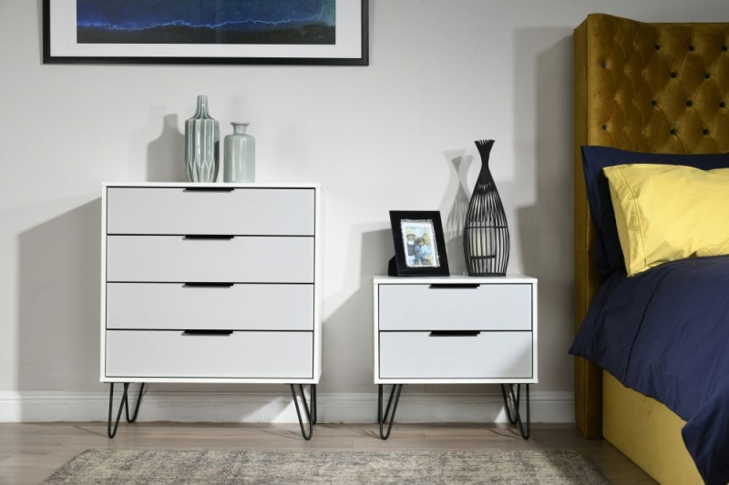 Hong Kong 4 Drawer Chest with Hairpin Legs - Grey and White