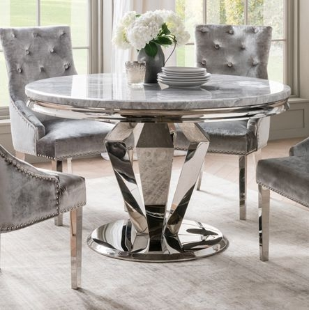 Vida Living Arturo 130cm Grey Marble and Stainless Steel Chrome Round Dining Table