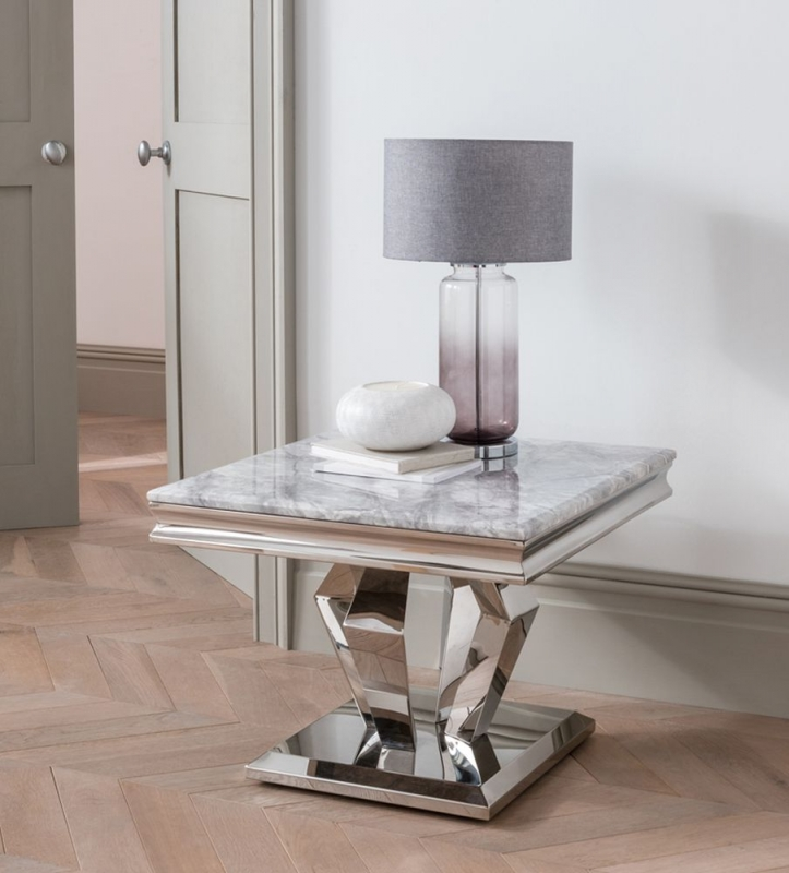 Vida Living Arturo Grey Marble and Stainless Steel Chrome Lamp Table